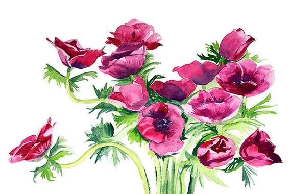 Akwarela Maki Kwiaty Drukowanie Grafiki Plakat Na ścianę Wydruki Prezent Wyposażenie Wnętrz Cyfrowy Drukuj Instant Download