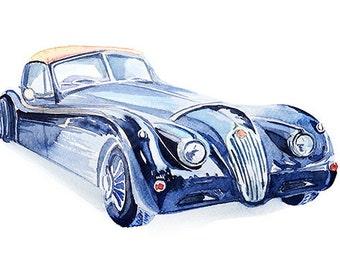 Retro car watercolor,Vintage, Retro car print, Poster, Wall art, Art print, Gift, Home Decor, Digital Print, INSTANT DOWNLOAD.
