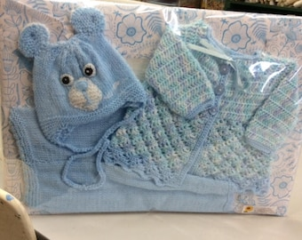 Gift Set for Baby in Blue - Hat, Jacket and Leggings