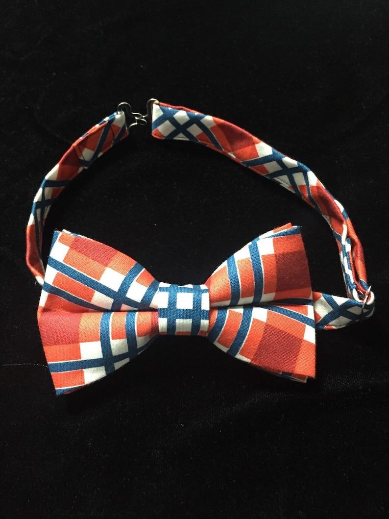 5685c7ef5754 Orange and Blue Plaid Bow Tie | Etsy