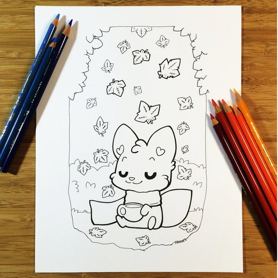 Fall Coffee Fox Downloadable Coloring Page Adult Coloring Etsy