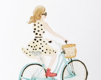 Bike Ride - Watercolor Art Print, Illustration