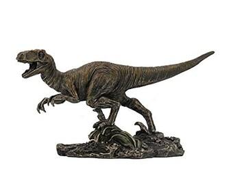 "Velociraptor Dinosaur Detailed Bronze Figurine Miniature Statue 8.5/""L New in Box"