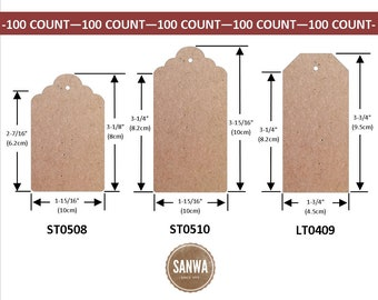 100pcs Natural Brown Kraft Paper Tags (Three Style Choices: Scalloped Top & Luggage)