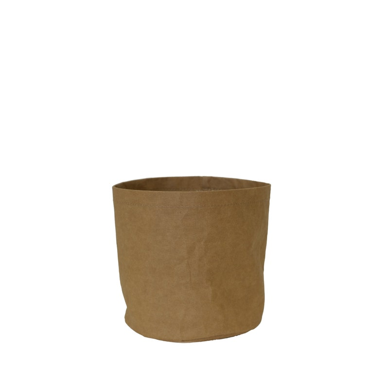 Washable Paper Planter Round Base with Waterproof Lining 18cm x 18cm x 18cm Brown Kraft 7 x 7 x 7
