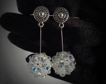Sterling Silver earrings, Swarovski Crystal earrings/Crystal Beaded earrings/Dangle earrings/Bridal jewelry/Wedding jewelry/Swarovski Bridal