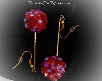 Swarovski Crystal Earrings, Crystal XILION Bicones, Red/Pink/Fuchsia/Beaded earrings/Glass beads/Gilded metal earhook/Gift/Anniversary/Prom