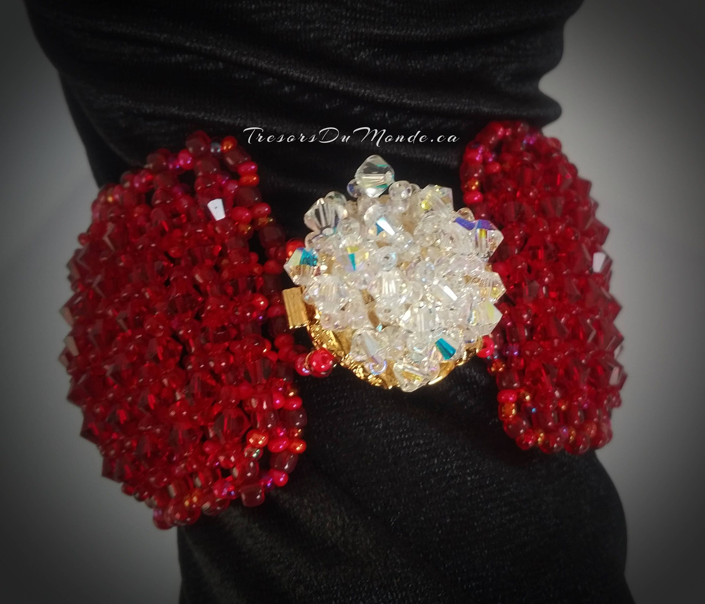 d54f77dbc Crystal Bracelet⎮Crystal Earrings⎮Siam Swarovski Crystals⎮Beaded bracelet  and earrings⎮Glass beads⎮Elegant metal box clasp⎮Prom jewelry set
