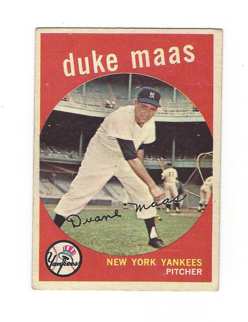 1959 Duke Maas New York Yankees Vintage 1959 Topps Baseball Card 167 In Very Good Condition With Decent Corners Shipped By 1st Class Mail