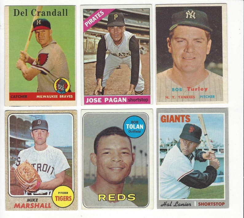 1957 To 1970 Topps Baseball Stars Semi Stars Various Original Vintage Cards Shipped Safely In A Bubble Pack Envelope