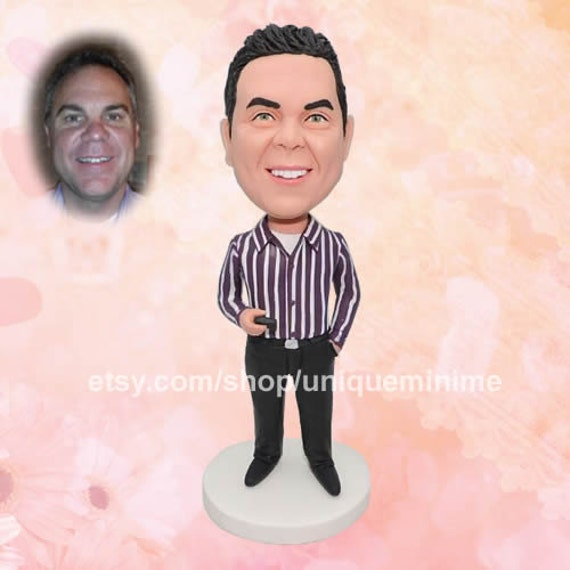 Fully Custom Black Shirt Bobblehead Figurine Personalized Gifts Valentines Day Gift Business Gift Father Gift Boyfriend Gift Friends Gifts Based on Your Photos for New Year,DHL Expedited Shipping