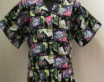 688bdd44df6 Fun to Be Evil Villains Movie Art* Evil Witch-Cruella DeVill-Maleficient*  Medical Nursing Relaxed Fit Scrub shirt Womens RN CNA Healthcare