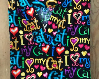 95dc6172a78 I Love My Cat * RN Medical Nursing Relaxed Fit Scrub shirt VNeck RN CNA  Medical Assist Groomers Veterinary Tech Healthcare Dental Therapist