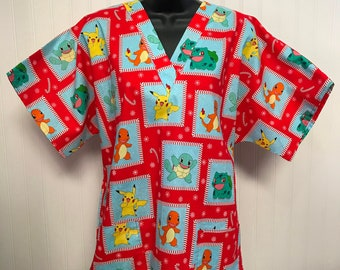 358bf19b036 New* Holiday POKEMON and Characters Red* Medical Nursing Relaxed Fit Scrub  shirt Men Women RN CNA Pediatric Healthcare Veterinary Xray Tech