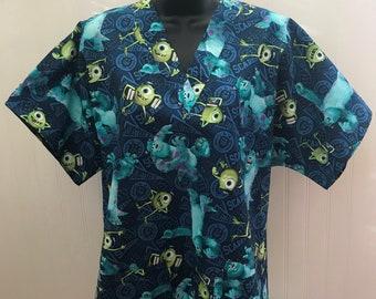 05b97e3b1c1 Disney *Monsters Inc Skully Mike * Medical Nursing Relaxed Fit Scrub shirt  Men Women RN CNA Pediatric Healthcare Dental Veterinary Lab Xray