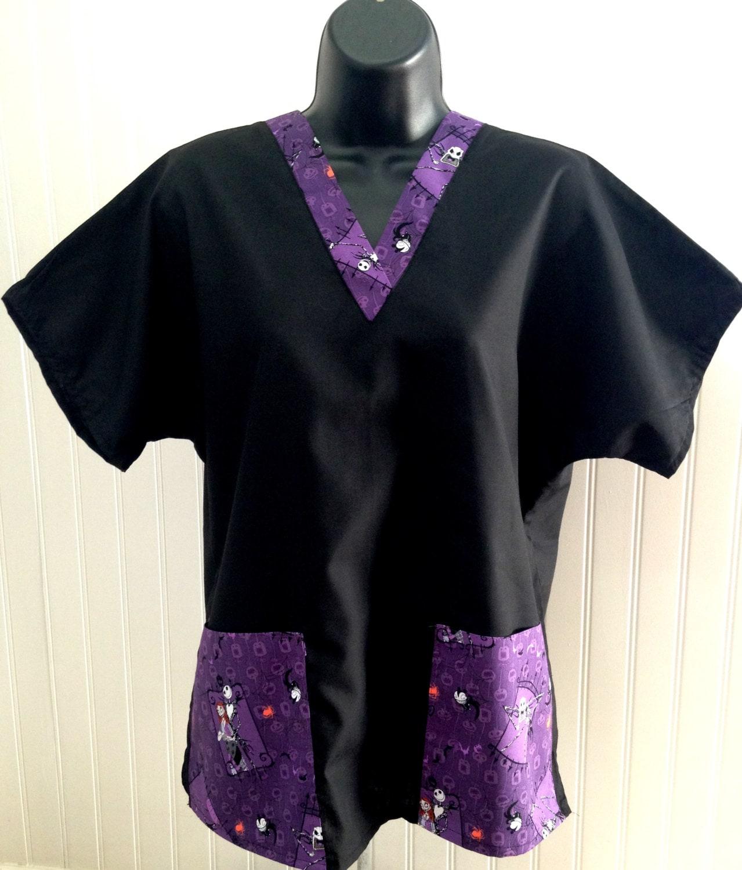 Nightmare Before Christmas Pockets VNeck on Black scrubs RN | Etsy