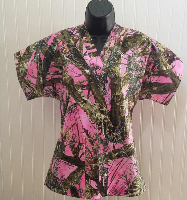ab6614294da Camouflage True Timbers Pink Medical Nursing Relaxed Fit V | Etsy