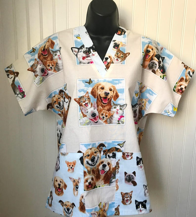 33365e6c14f Fun Dog and Cat Selfies RN Medical Nursing Relaxed Fit Scrub | Etsy