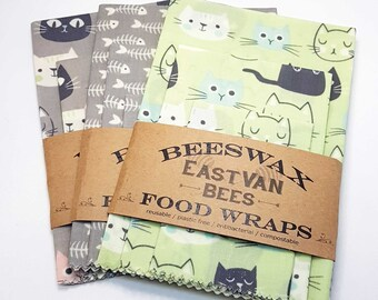 """Beeswax Food Wraps - 3 pack 8"""" - 11"""" -14"""" - Cat Prints -Zero waste- Food Safe - Reusable"""