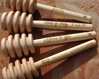 Custom Engraved Wooden Honey Dipper- Set of 3