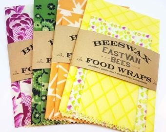 """Beeswax Food Wraps, 3 pack 8"""" - 11"""" -14"""", Zero waste, Food Safe, Reusable ,  *** FREE SHIPPING***"""