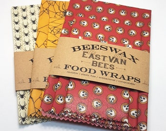 """Beeswax Food Wraps - 3 pack 8"""" - 11"""" -14"""" - Spooky Prints -Zero waste- Food Safe - Reusable"""