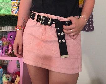 Vintage pink corduroy mini skirt