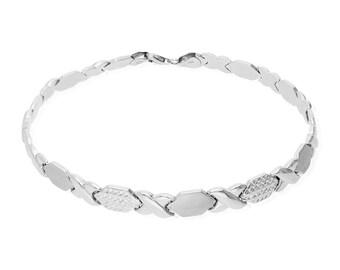 a655b91f57 10k White Gold 7mm Anklet Xo Hugs and Kisses Hollow Ankle Bracelet 10