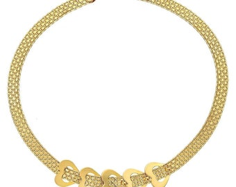 422a449a1 14k Solid Yellow Gold Panther Link Open Heart Bracelet 7.5