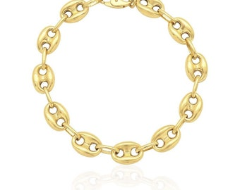 a2345973c 10k Yellow Gold Anchor Fancy Gucci Bracelet 9.2mm 8.2