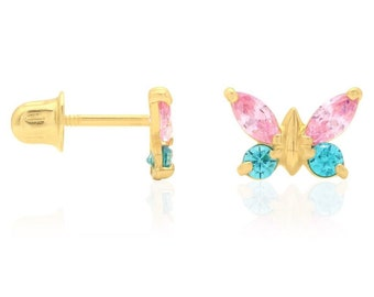 129b2d2b7 14k Yellow and White Gold Multicolor Gemstone Butterfly Screw Back Stud  Earrings