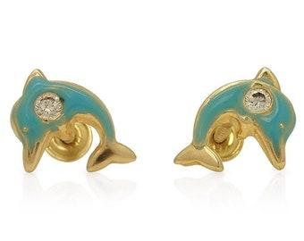 27d74d323 14k Solid Yellow Gold Green Enamel and Zircon Dolphin Screwback Stud Kids  Earrings