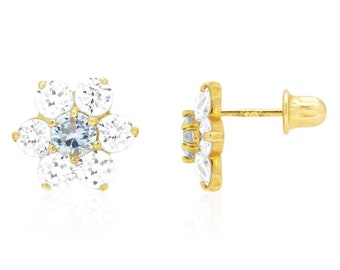 1a48416d5 14k Solid Yellow Gold Diamond and Aquamarine Flower Screwback Stud Earrings  2ct