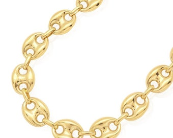 bb9e177ea 10k Yellow Gold 12.3mm Fancy Gucci Puff Anchor Link Chain Necklace 26