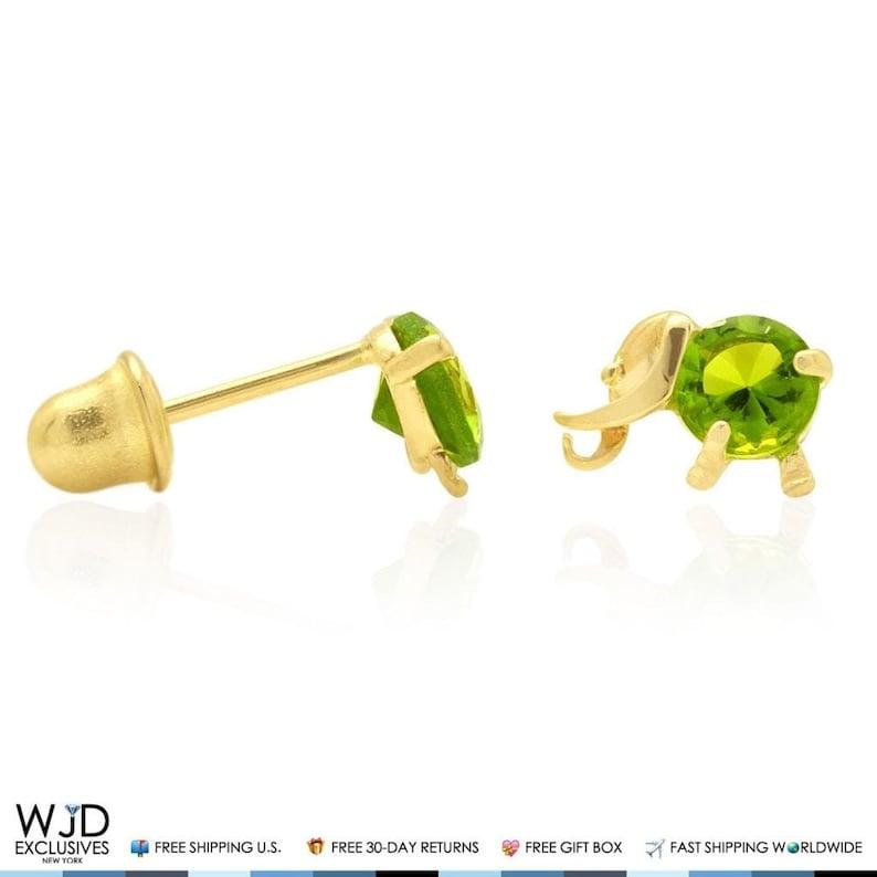 14k Yellow Gold Elephant Birthstone Screw Back Earring