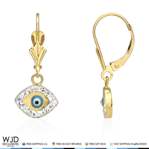 0.20 TCW Round Cut Simulated Diamond Drop Dangle Earrings 14k Yellow Gold Over