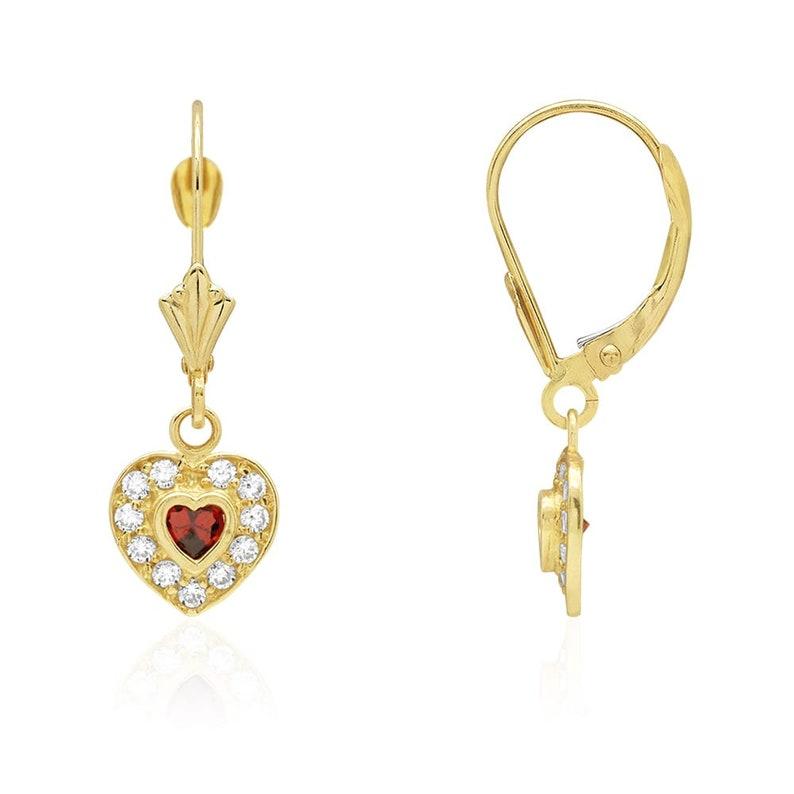 14K Yellow Gold Bezel Set Heart Aquamarine Dangle Leverback Earrings