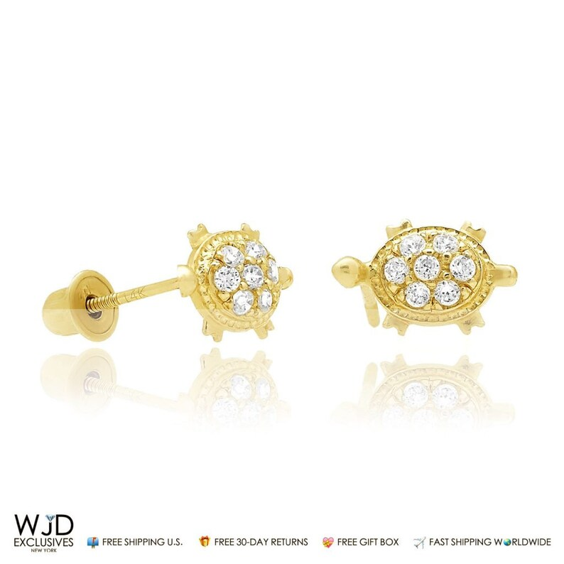 c83f83198 0.20ct Created Diamond 14k Yellow Gold Turtle Stud Baby Screw   Etsy