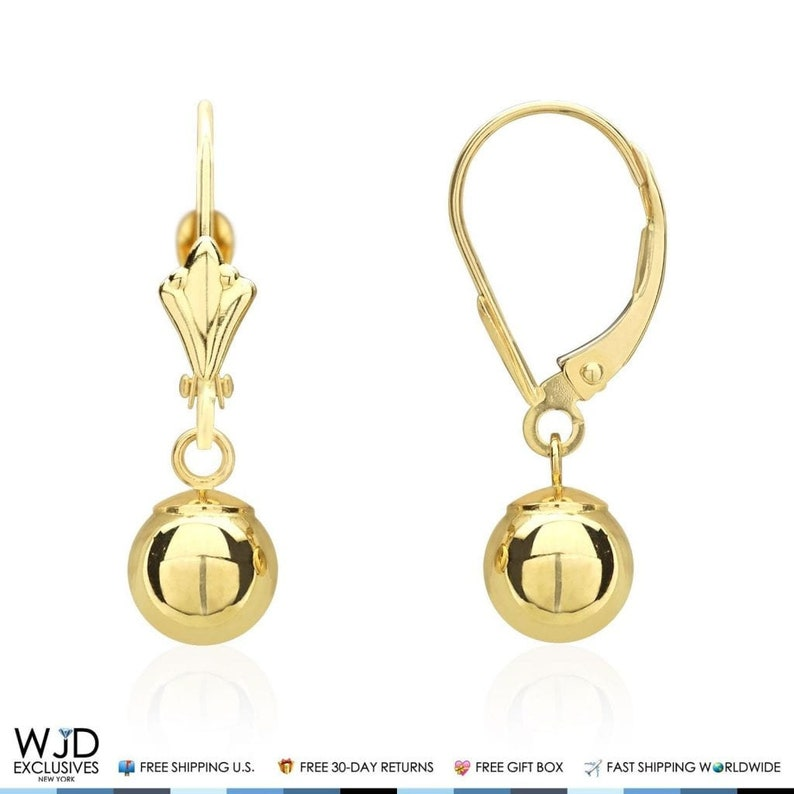 14K Solid Yellow Gold 6mm Ball Lever Back Dangle Drop Earrings