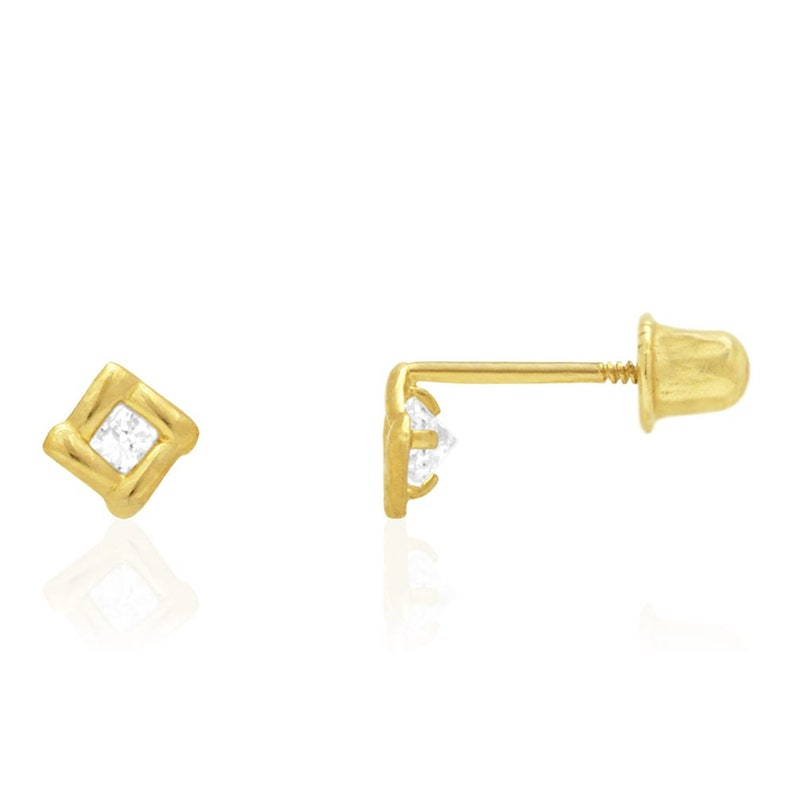 14k Solid Yellow Gold Diamond /& Emerald Square Screwback Stud Earrings 0.30Ct
