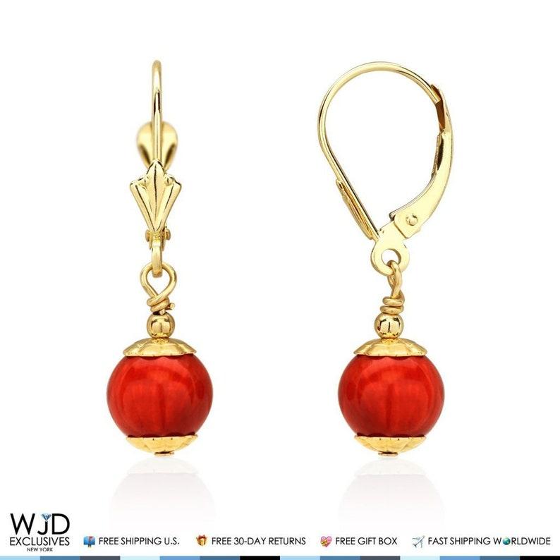 14K Solid White Gold 8 mm Ball Shaped Pink Fire Opal Leverback Dangle Earrings