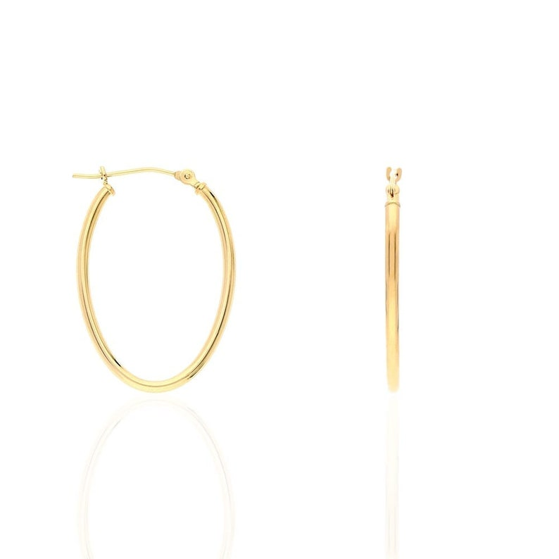 Hoop Earrings Rose Gold Yellow and White Three Colour Oval Hoops Creole