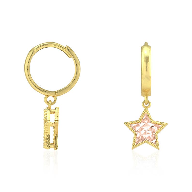 9ac79502e 14k Yellow & Rose Gold Diamond Cut Star Huggie Hoop Dangle | Etsy