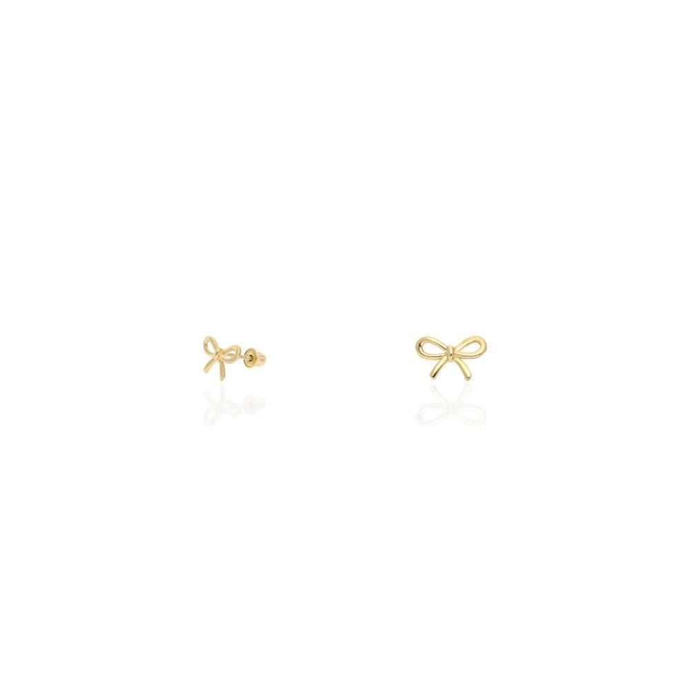 14K Yellow Gold Red Enamel Butterfly Baby Screw Back Stud Kid Earrings SMALL