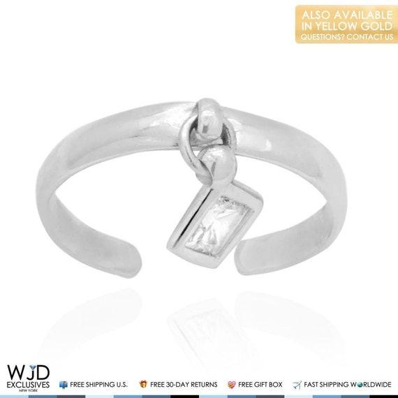 Adjustable Bezel Set Brilliant Cut CZ Toe Ring Real Solid 14K Yellow Gold