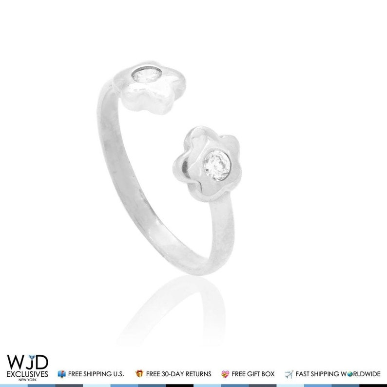 14k Solid White Gold Midi Knuckle Pave Set Simulated Diamond Flower Ring 0.10ct