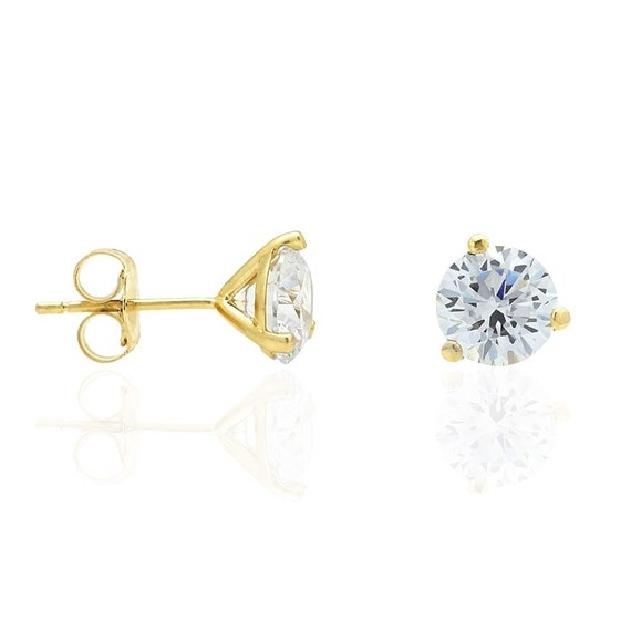 """10K Solid Yellow Gold 0.8/"""" Square Diamond Cut Two Tone Last Supper Earrings."""