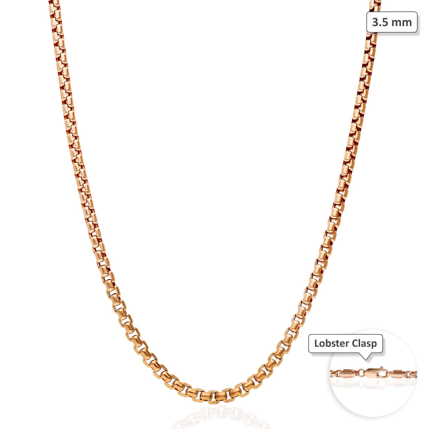 c4491fa04d5b4 14k Rose Gold 3.5mm High Polished Round Box Link Chain Necklace 18