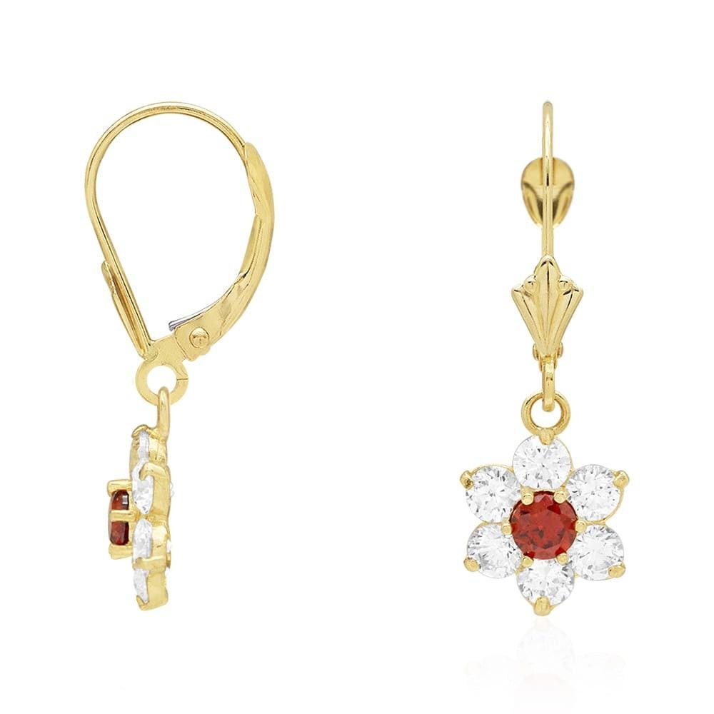 1Ct Simulated Diamond /& Alexandrite 14K Yellow Gold Flower Dangle Earrings