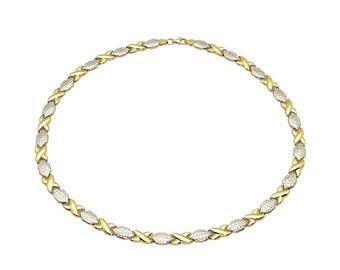 "14K Yellow & White Gold Diamond Cut XO Hugs Kisses Necklace 17"""